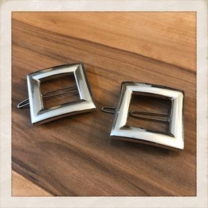 Pair of Vintage MOD Silver Barrettes